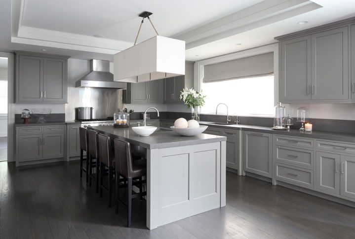 Gray Kitchen With Gray Cabinets Paired With Gray Countertops Framing
