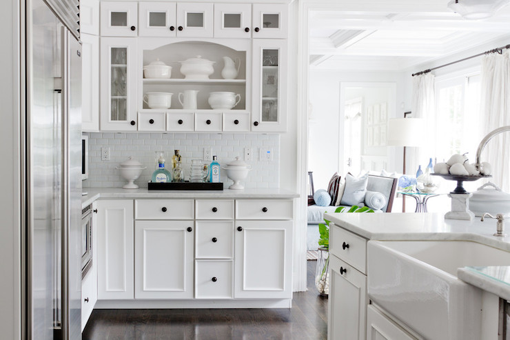 White Mini Subway Tiles Transitional Kitchen Rikki