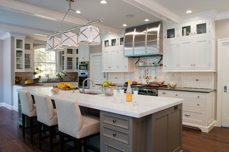 Grey And White Kitchen With Island grey kitchen island - transitional - kitchen - kitchenseileen