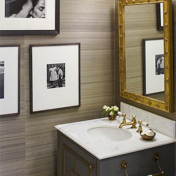 Gray Lacquer Vanity, Contemporary, bathroom, Cullman & Kravis