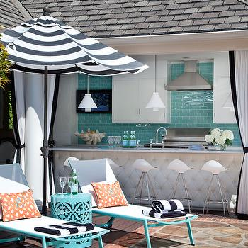 Turquoise Blue Subway Tiles, Contemporary, deck/patio, At Home in Arkansas