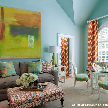 Orange Chevron Curtains, Contemporary, living room, At Home in Arkansas