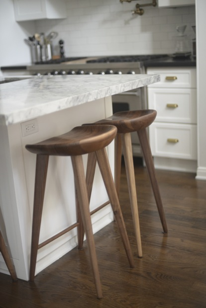 Super white granite counters transitional kitchen for Bar stools for kitchen island