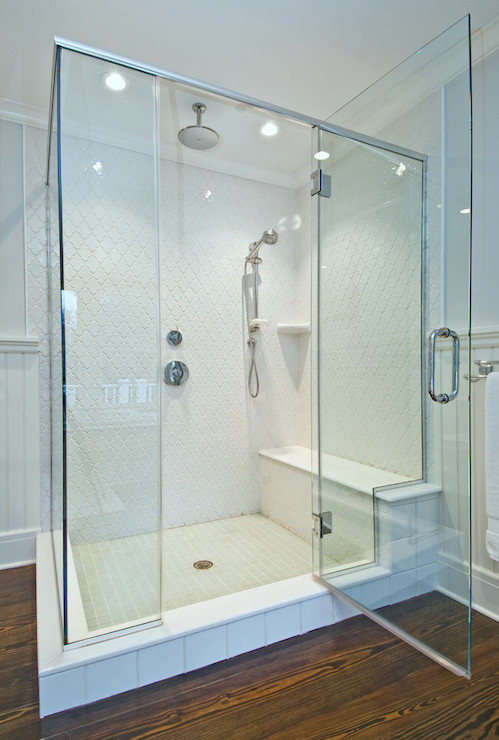 Arabesque Shower Tiles Transitional Bathroom Benco
