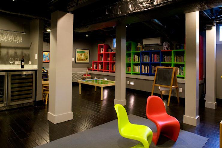 Kids Playroom In Basement basement playroom - contemporary - basement - liz caan interiors