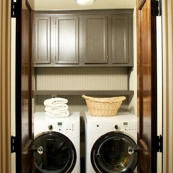 Beadboard Paneled Laundry Room Door With Black Front