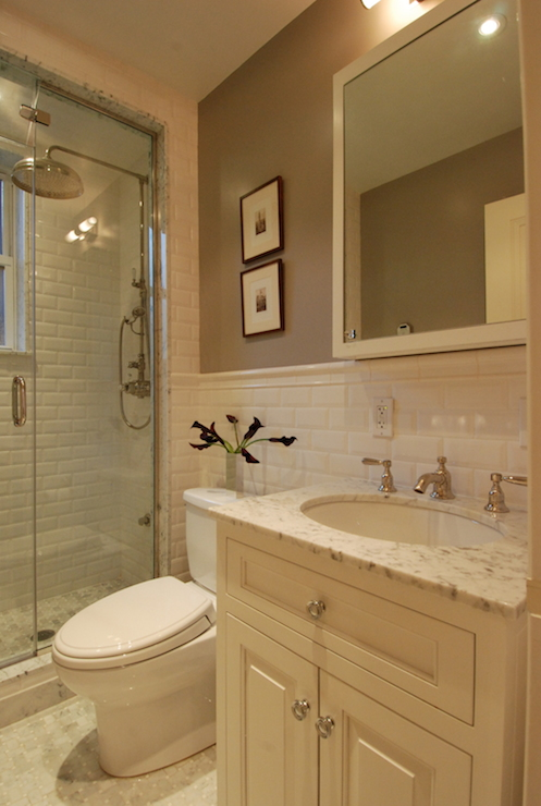 Beveled Subway Tiles Transitional Bathroom The