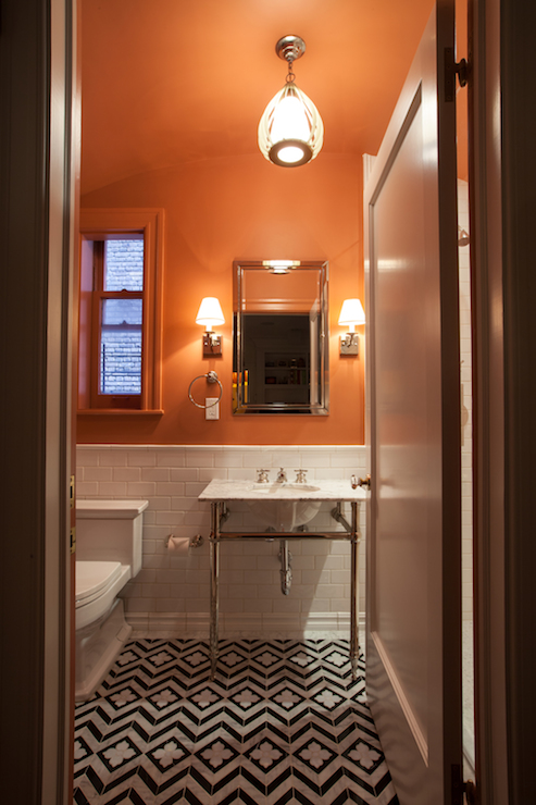 Orange bathroom eclectic bathroom the renovated home for Orange and grey bathroom accessories