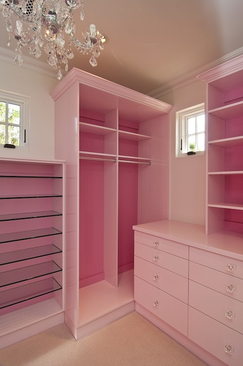 Custom Closet With Pink Cabinets Backed In Bubblegum Pink With Glass  Shelves Next To Cabinets With Clothes Rails And Shelves Flanked By Built In  Dresser ...