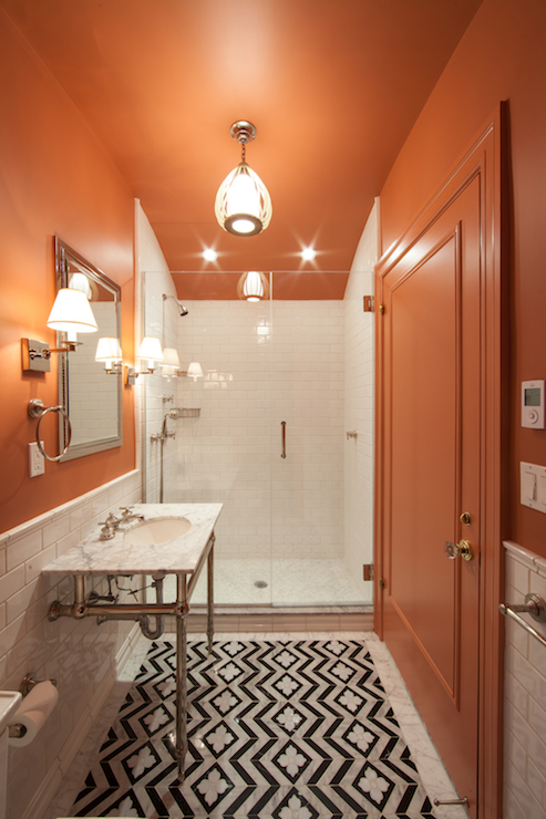 Orange And Black Bathroom Eclectic Bathroom The