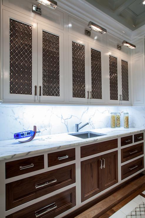 Somette Silver Metallic 2 Door Geometric Design Wooden Cabinet