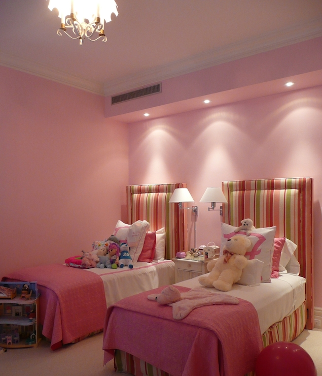 pink beige carpet and headboard skirt green beige walls striped headboards traditional s room the 738