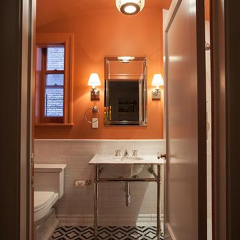 Bathroom with subway tiles modern bathroom tania for Orange and grey bathroom accessories