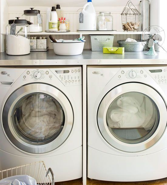 Front load design ideas for Shelf above washer and dryer