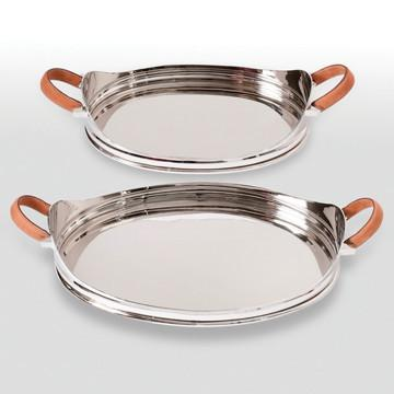 Tray with Leather Handles Oval Large design by Barbara Cosgrove I Zinc Door