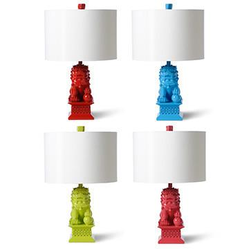 Delightful Foo Dogs Assorted Colors Mini Table Lamp