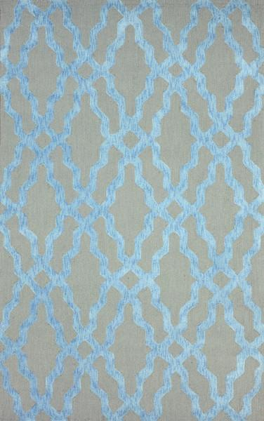 Knob Grey and Blue Wool Area Rug