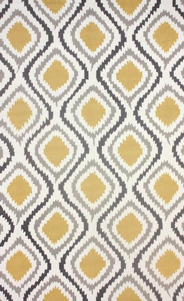 Retro Garden Grey And Yellow Polyester Area Rug View Full Size