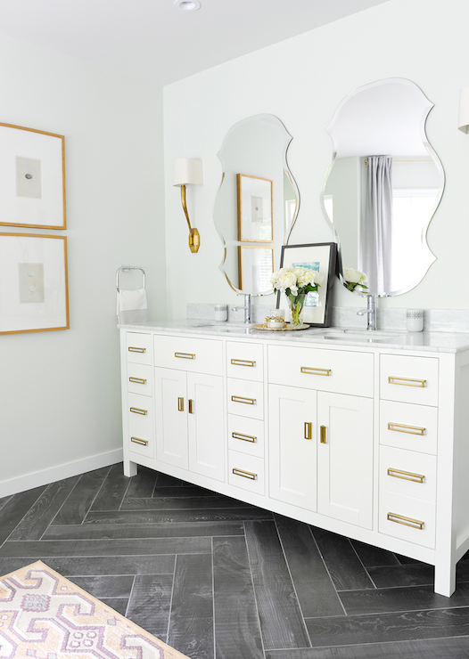 White Vanity With Brass Pulls Contemporary Bathroom