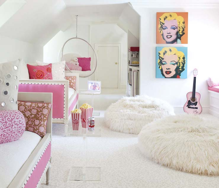 pink daybeds contemporary girl 39 s room bear hill interiors. Black Bedroom Furniture Sets. Home Design Ideas