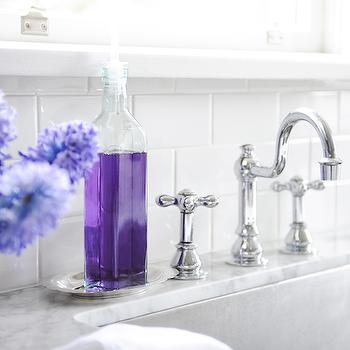 Gray Bathroom With Purple Accents Design Ideas