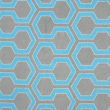 Knob 100% Wool Area Rug in Blue design by NuLoom I Burke Decor
