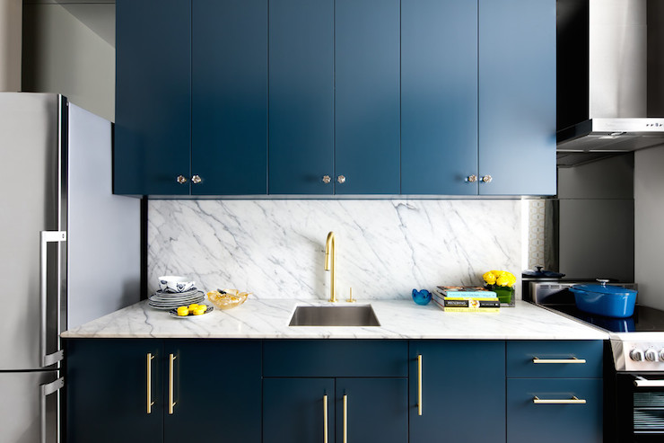 Navy cabinets contemporary kitchen benjamin moore for Dark blue kitchen paint