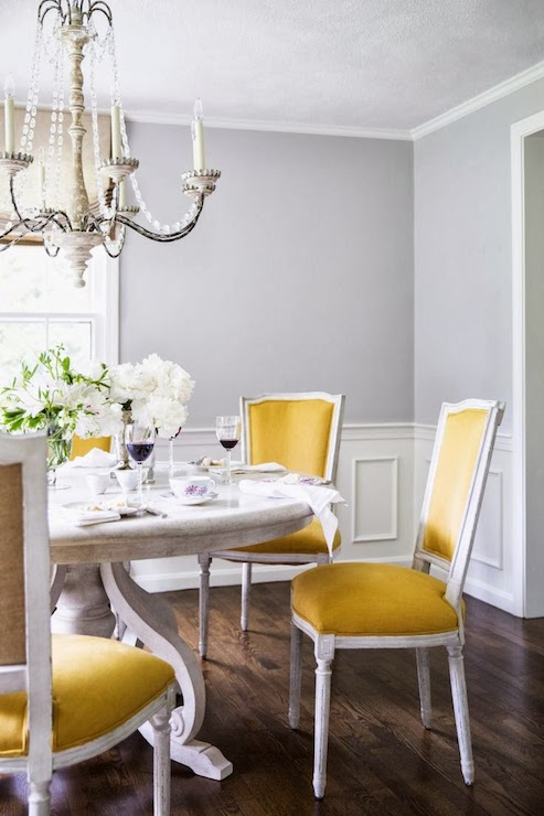 Yellow dining chairs transitional dining room farrow for Yellow dining room ideas