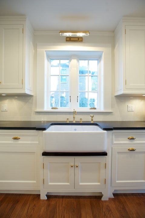 Wall Light Over Kitchen Sink : White Kitchen Cabinets With Brass Cup Pulls - Design, decor, photos, pictures, ideas ...