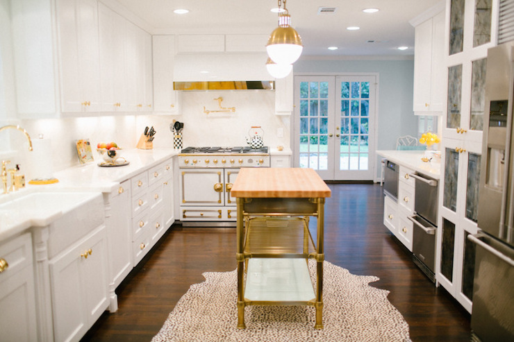 Brass Kitchen Island Contemporary Kitchen Style Me Pretty
