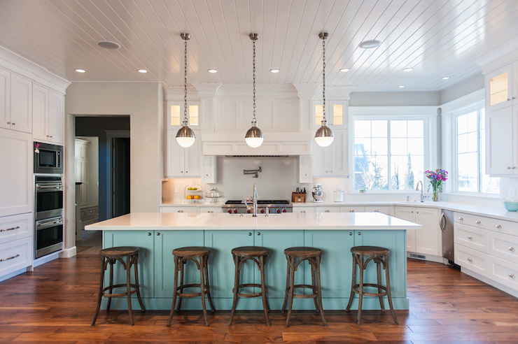 Blue Kitchen Island, Contemporary, kitchen, Benjamin Moore Wedgewood