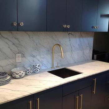 Statuarietto Vintage Marble View Full Size Contemporary Kitchen Features Navy Blue Cabinets