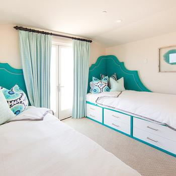 Teal Headboard, Contemporary, bedroom, Brooke Wagner Design