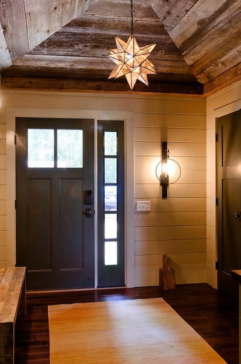 Wall Sconces For Vaulted Ceilings : Barn Board Ceiling - Country - entrance/foyer - Kristina Crestin Design