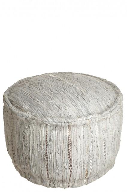 Leather Pouf Calypso St Barth