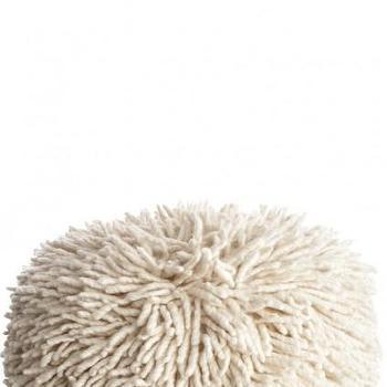 White Wool Shag Pouf