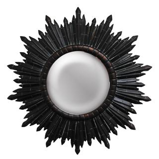 Round Dark Sunburst Framed Black Mirror