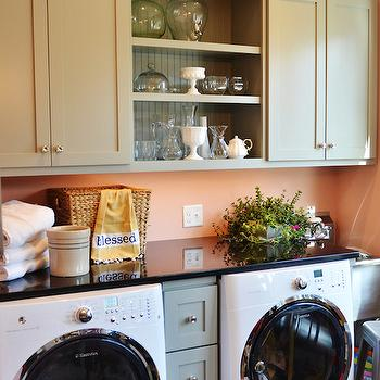 Pink Paint Colors, Cottage, laundry room, Benjamin Moore Conch Shell, Life in Grace