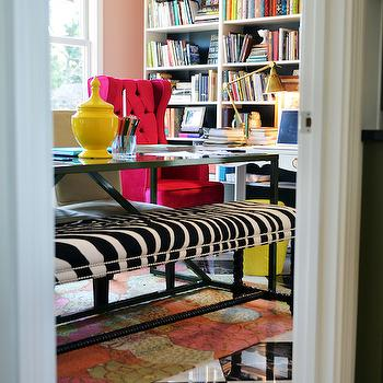 Zebra Bench, Contemporary, den/library/office, Benjamin Moore Conch Shell, Life in Grace