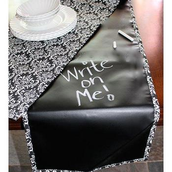 Scribble Linens Table Runner Black Small Damask, BLUEFLY