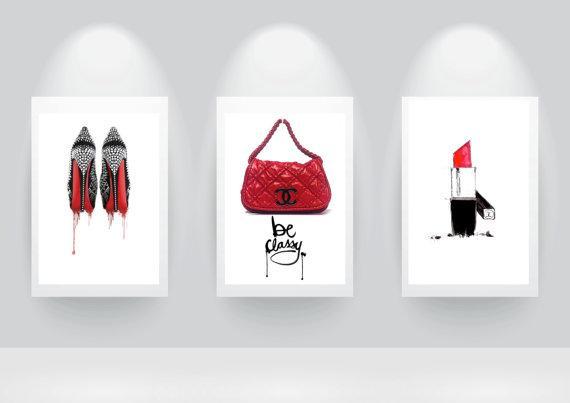 Three Pink And Black Chanel Classy Fashion Prints
