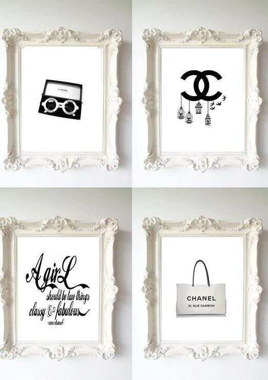 Four Black And White Chanel Illustration And Quote Prints