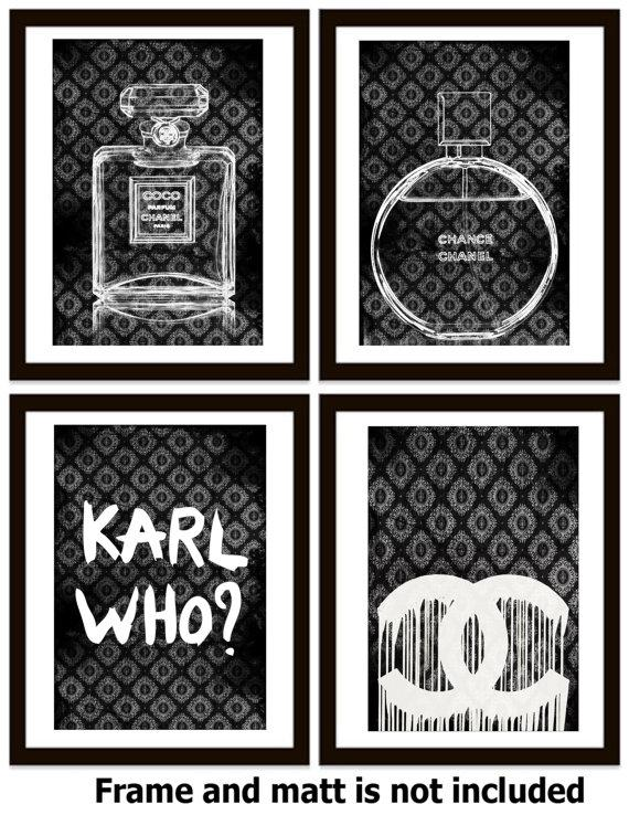 c87ed8831560 Four Black and White Chanel and Karl Lagerfeld Wall Art Prints