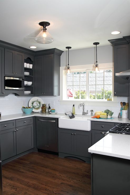 Gray Shaker Kitchen Cabinets Contemporary Kitchen