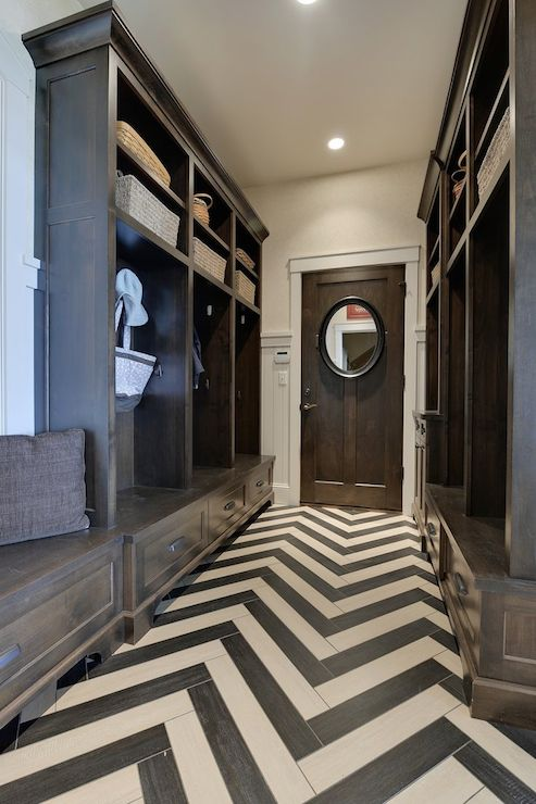Chevron Floor Contemporary Laundry Room