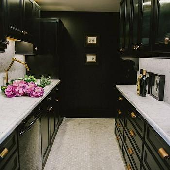 Black Galley Kitchen, Contemporary, kitchen, Style Me Pretty