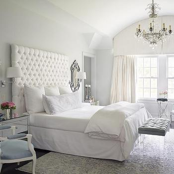 White Tufted Headboard, French, bedroom, Katie by Design