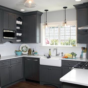 Gray shaker kitchen cabinets contemporary kitchen for Dark gray kitchen cabinets