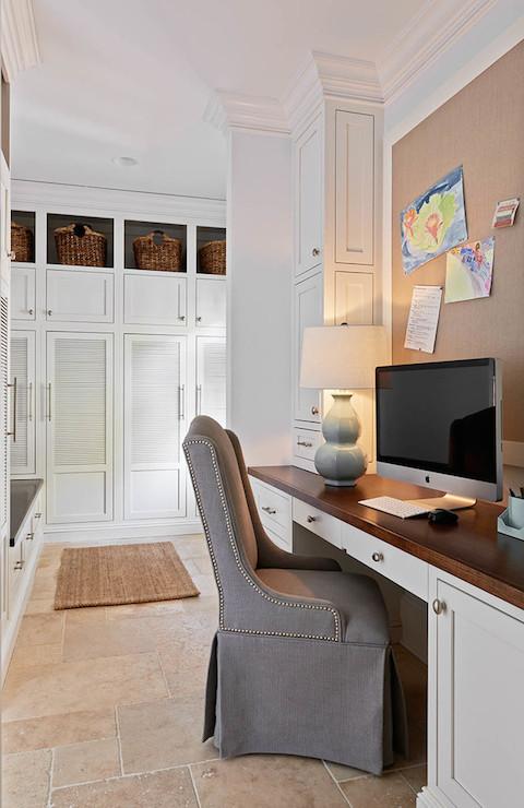 Mudroom desk transitional kitchen carolina design for Mudroom office
