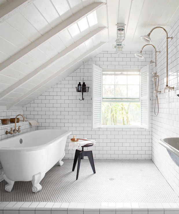 view full size  Attic bathroom features sloped paneled ceiling. Attic Bathroom Sloped Ceiling Design Ideas